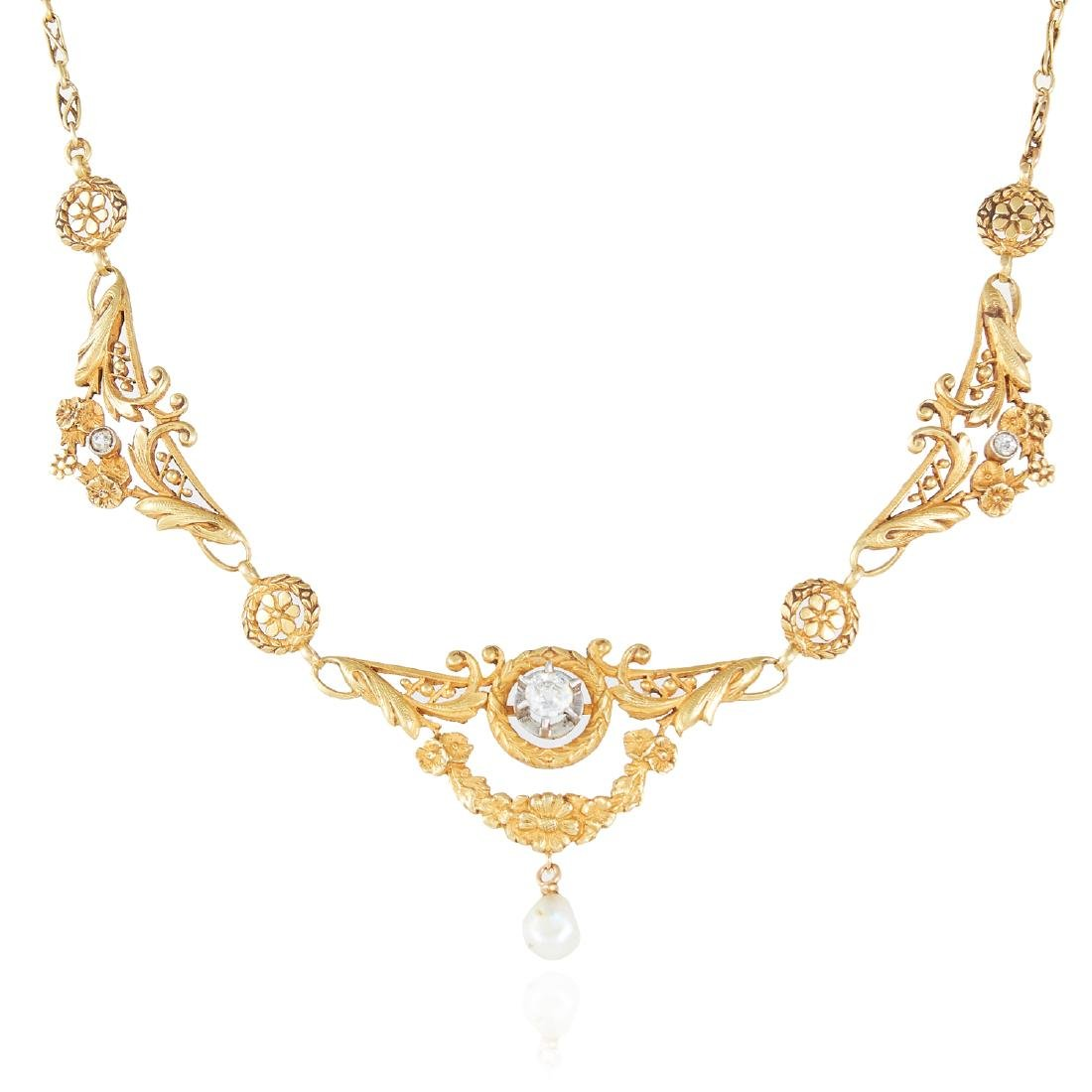 AN ART NOUVEAU PEARL AND DIAMOND NECKLACE in 18ct