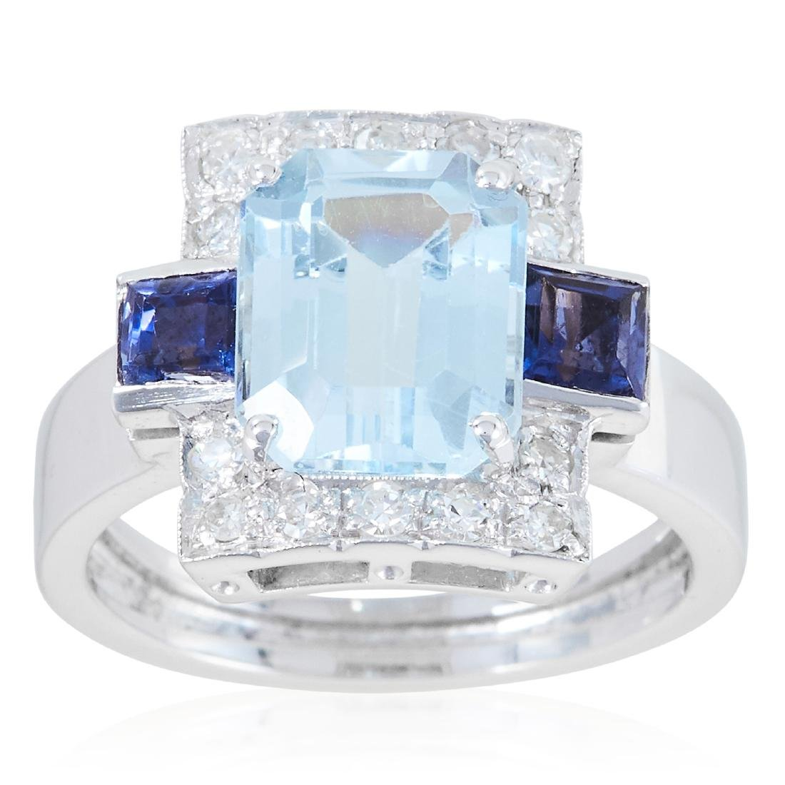 AN AQUAMARINE, SAPPHIRE AND DIAMOND RING in platinum or