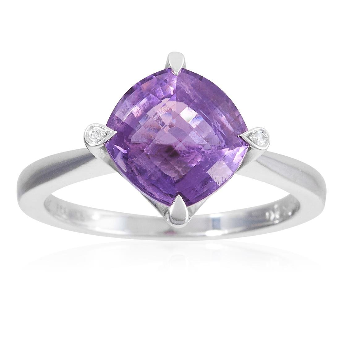 AN AMETHYST AND DIAMOND DRESS RING, CARTIER in 18ct
