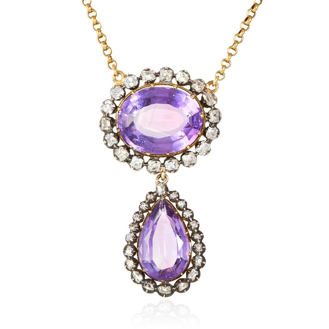 AN ANTIQUE AMETHYST AND DIAMOND PENDANT, CIRCA 1850 in