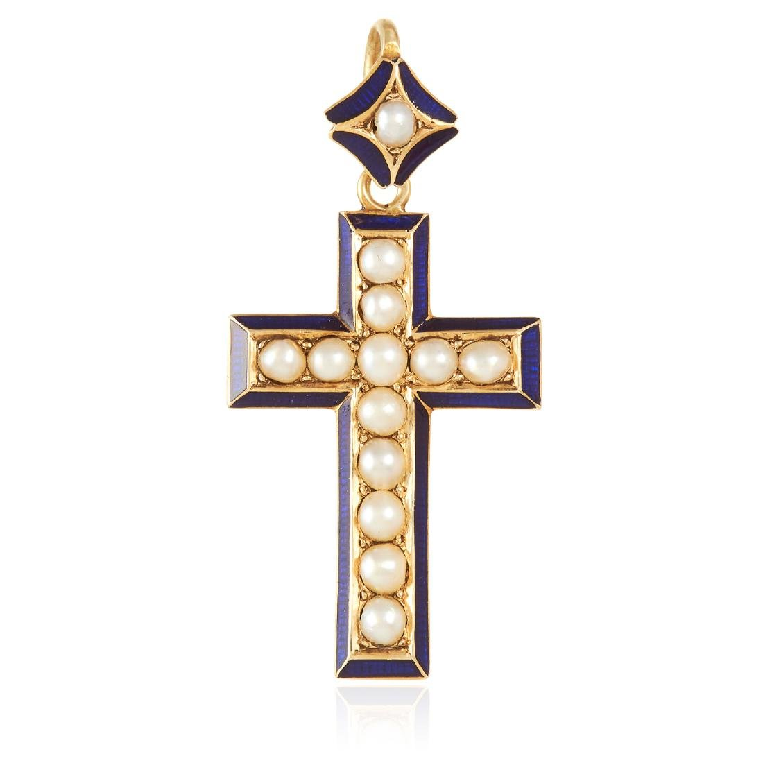 AN ANTIQUE PEARL AND ENAMEL CROSS PENDANT in high carat