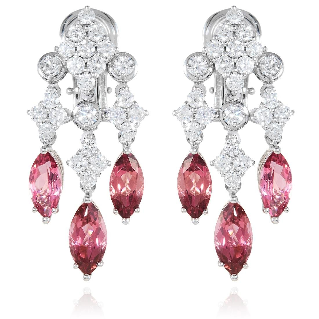 A PAIR OF TOURMALINE AND DIAMOND CHANDELIER EARRINGS,
