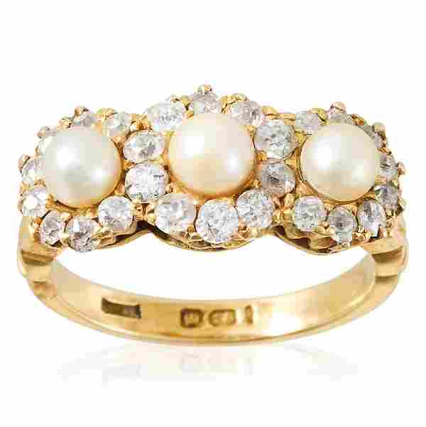 A DIAMOND AND PEARL CLUSTER RING, 19TH CENTURY in 18ct