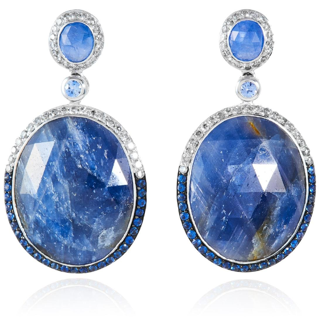 A PAIR OF SAPPHIRE AND DIAMOND EARRINGS in 18ct white