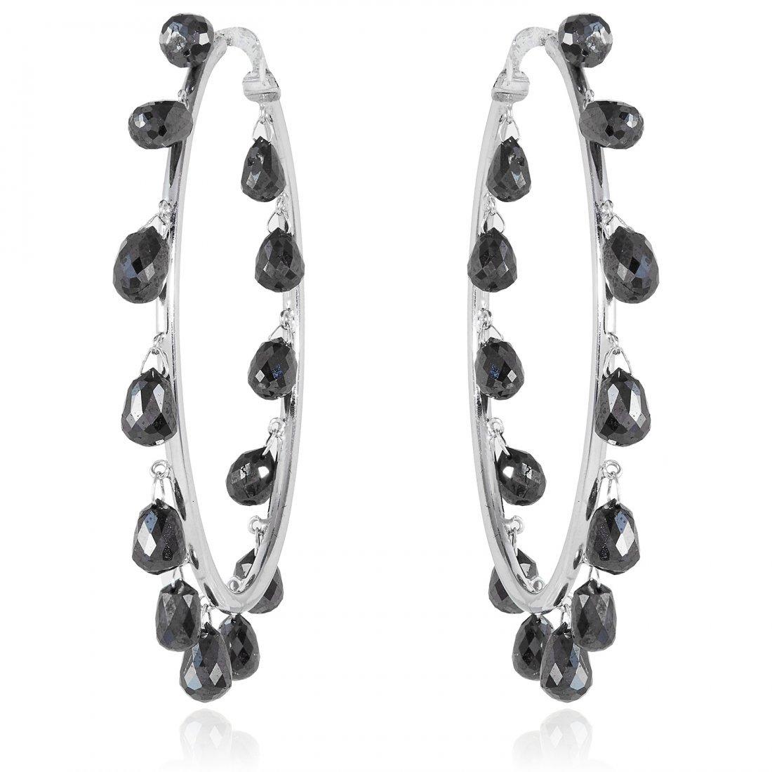 A PAIR OF 14.5 CARAT FANCY BLACK DIAMOND HOOP EARRINGS