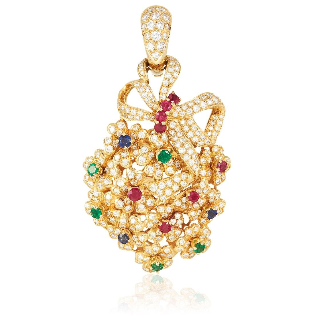 A RUBY, EMERALD, SAPPHIRE AND DIAMOND PENDANT in 18ct