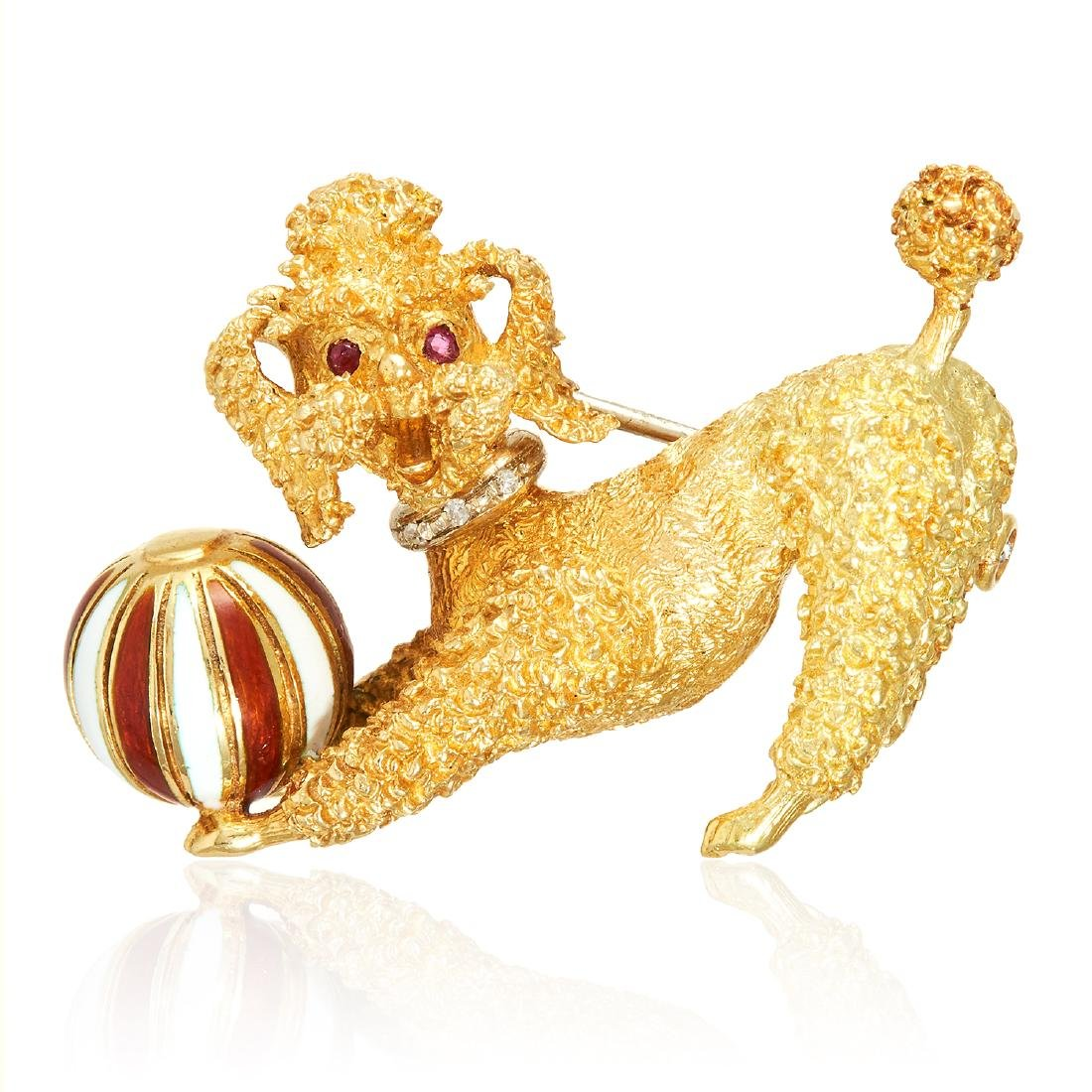 A VINTAGE RUBY, DIAMOND AND ENAMEL POODLE DOG BROOCH in