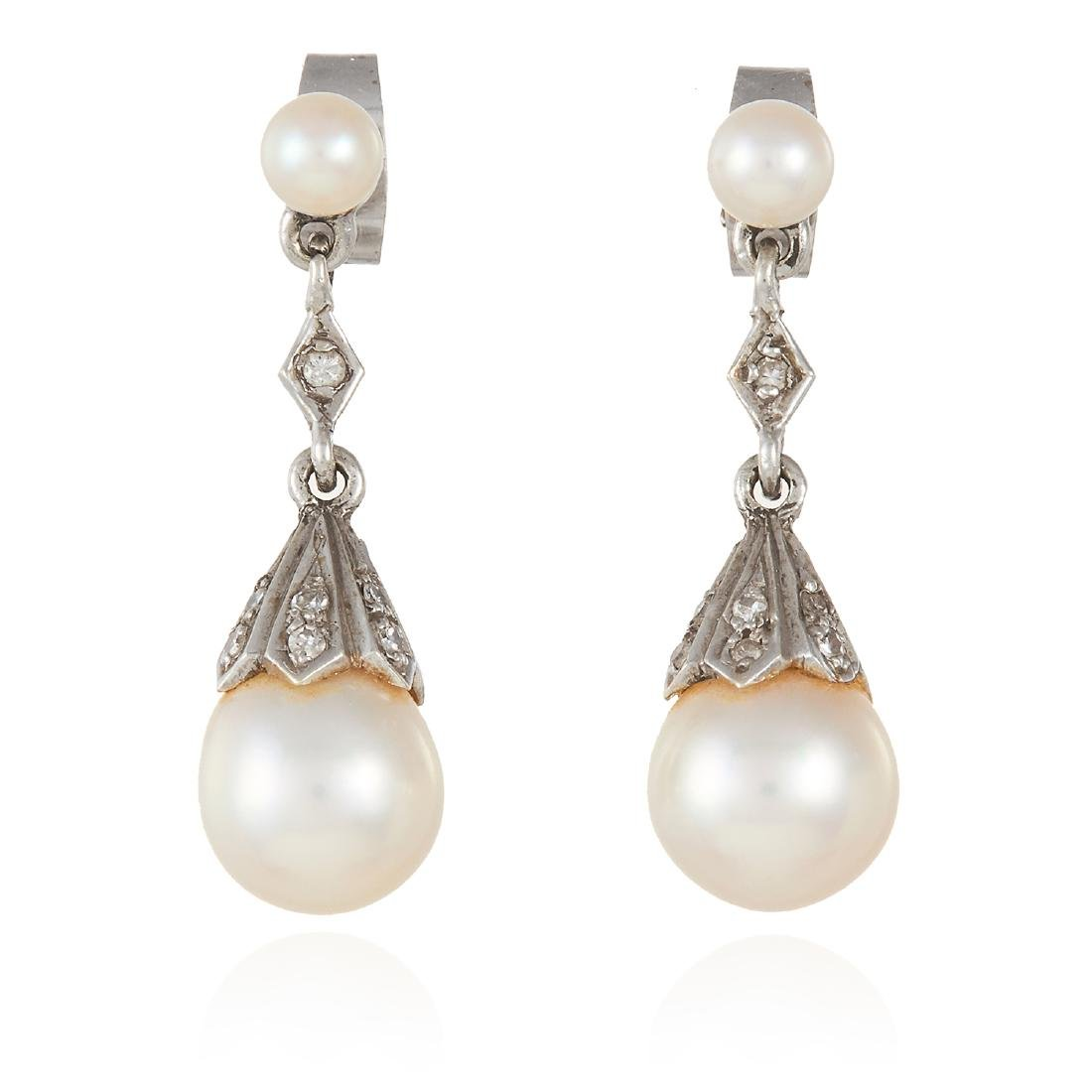 A PAIR OF ANTIQUE PEARL AND DIAMOND EARRINGS in white