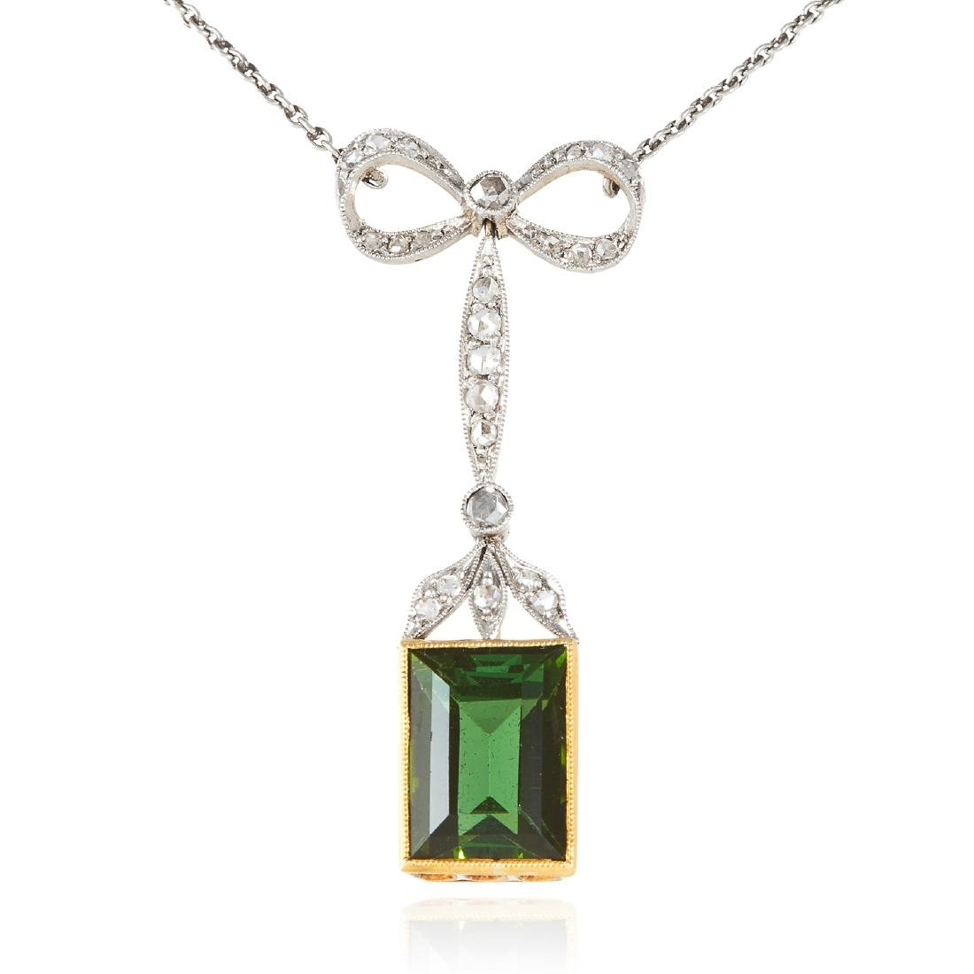 AN ANTIQUE TOURMALINE AND DIAMOND PENDANT in gold or