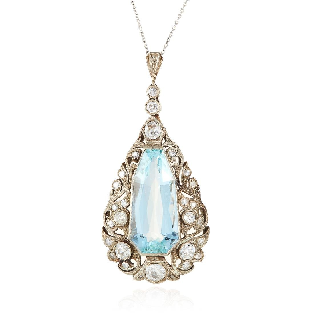 AN ANTIQUE AQUAMARINE AND DIAMOND PENDANT in white gold