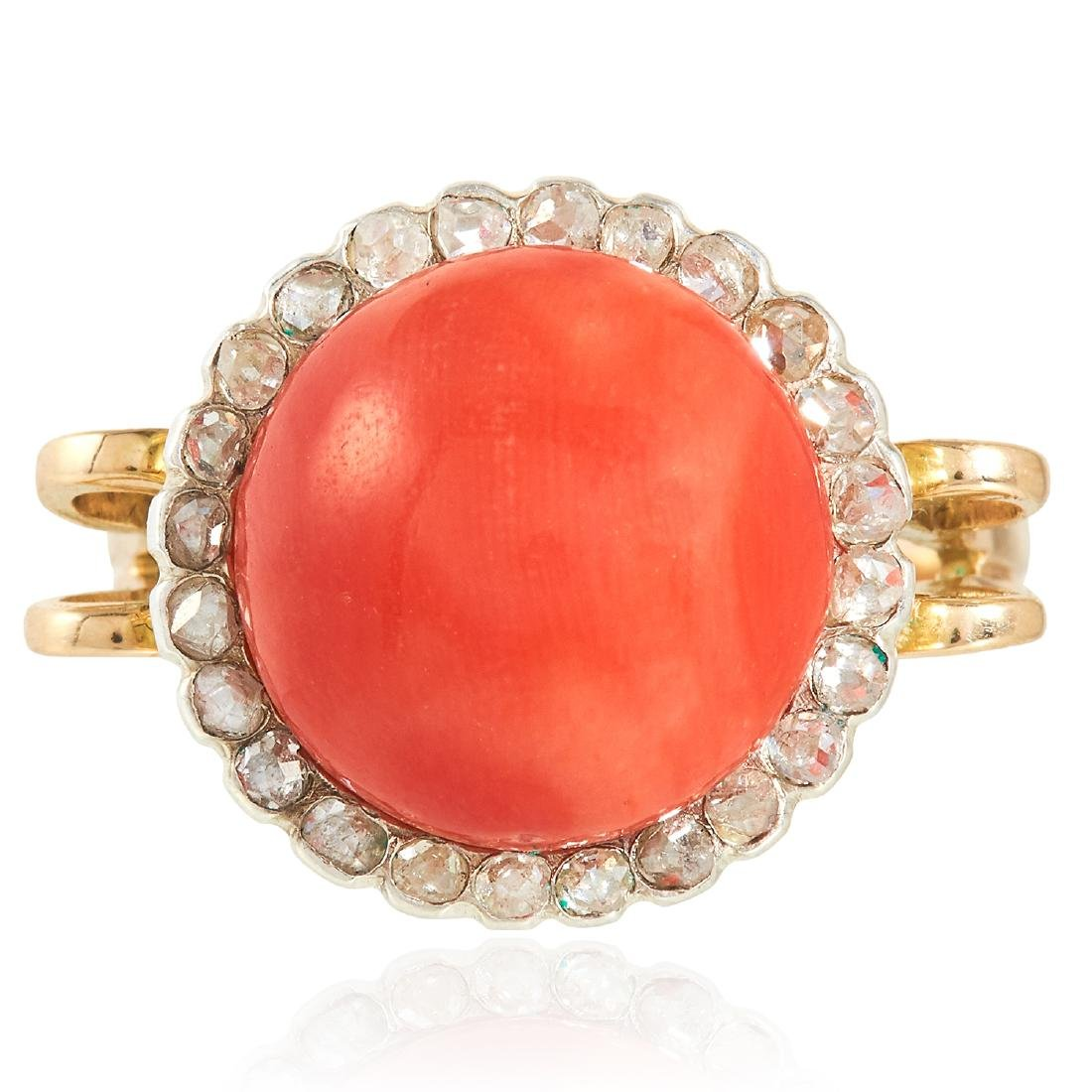 AN ANTIQUE CORAL AND DIAMOND RING in high carat yellow