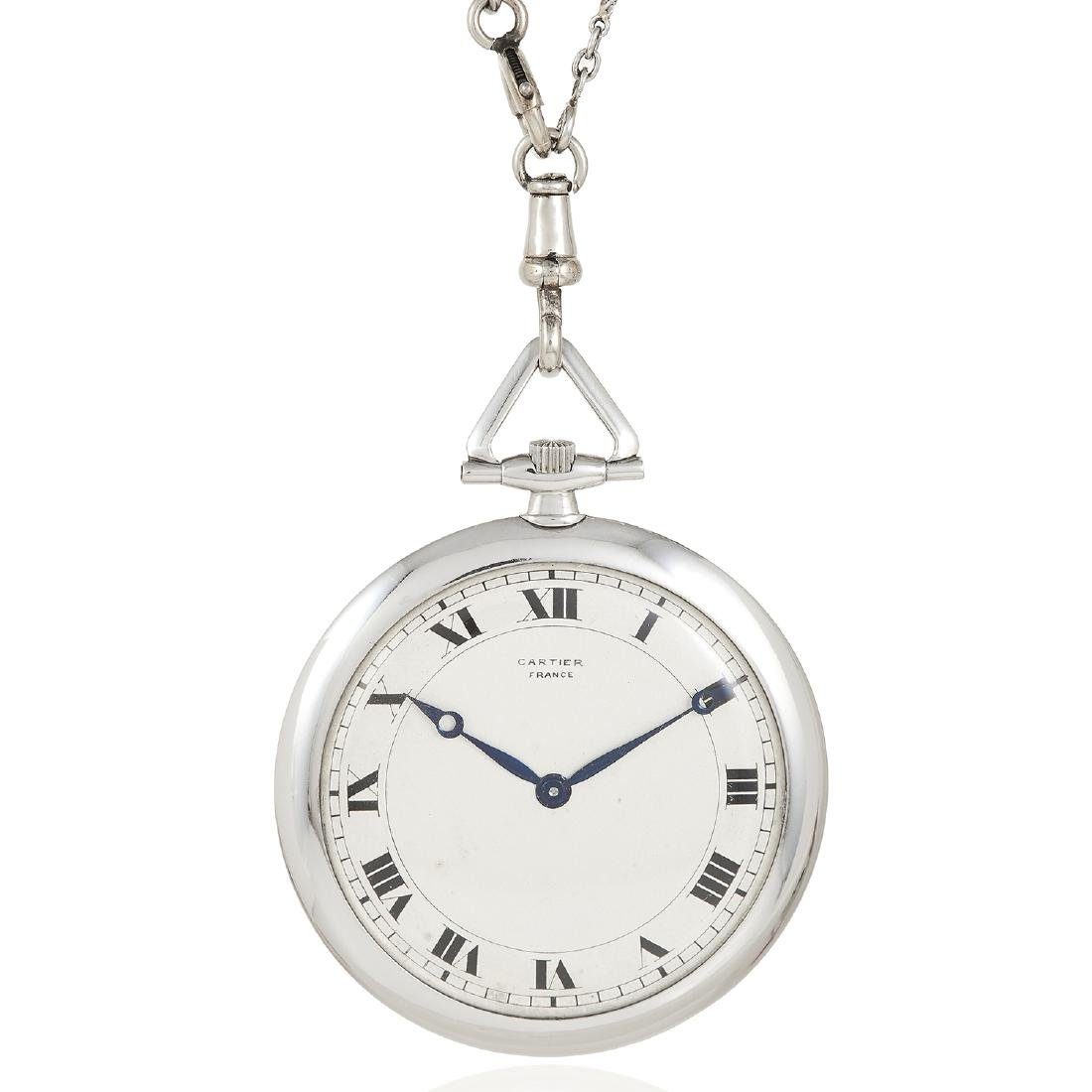 AN ART DECO PEARL WATCH ON CHAIN, CARTIER in white gold