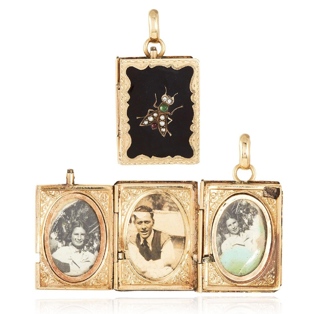 AN ANTIQUE ONYX, RUBY, EMERALD, PEARL AND DIAMOND