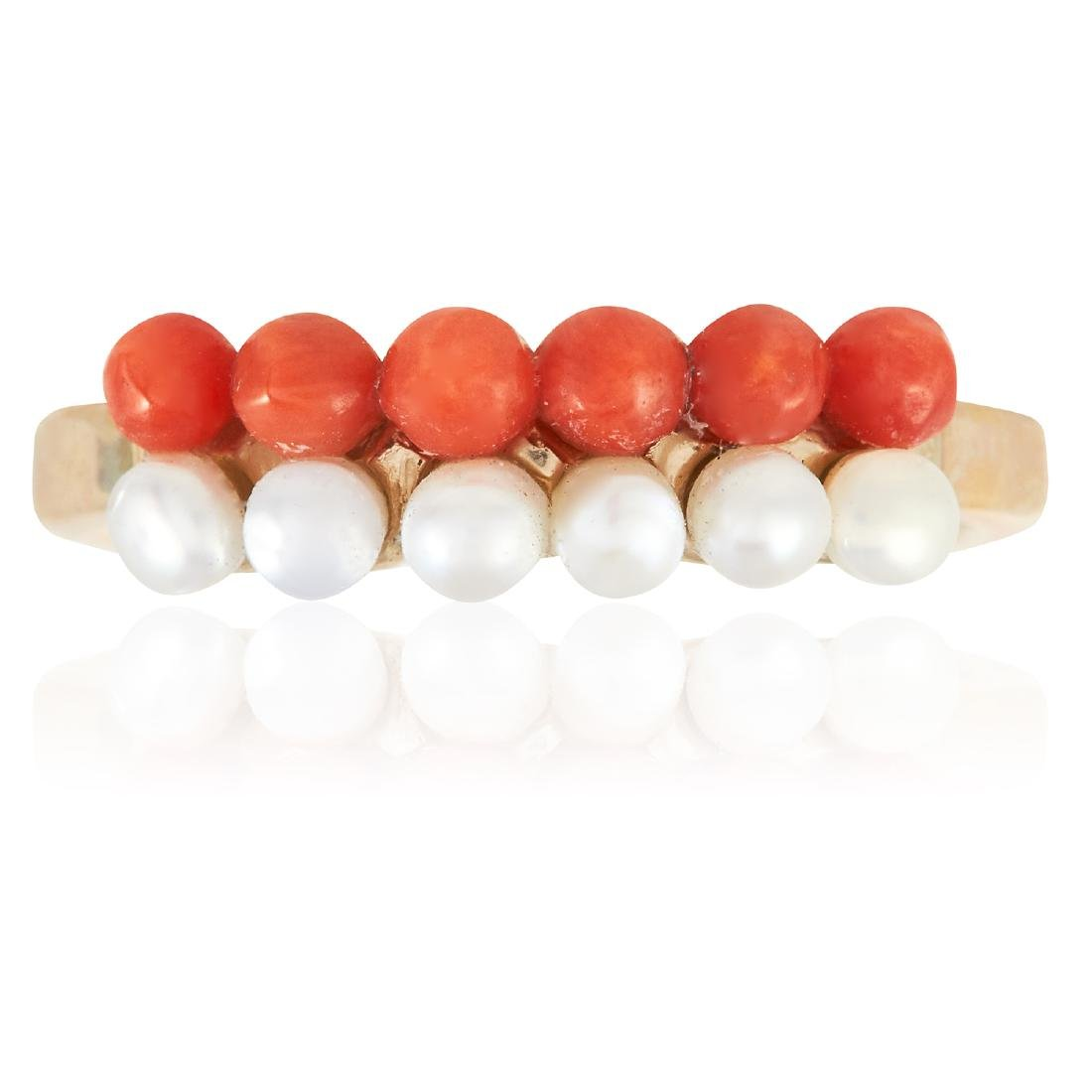 A CORAL AND PEARL DRESS RING in high carat yellow gold,