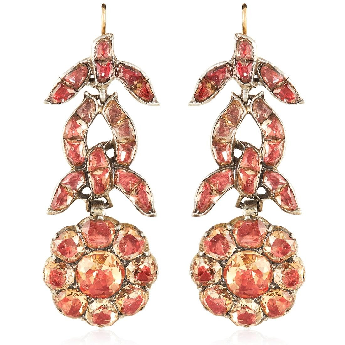 A PAIR OF ANTIQUE IMPERIAL TOPAZ EARRINGS, PORTUGUESE,