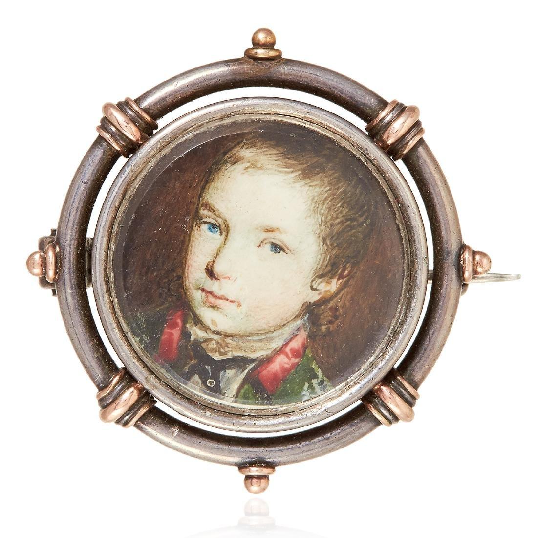 A PORTRAIT MINIATURE BROOCH in sterling silver, set