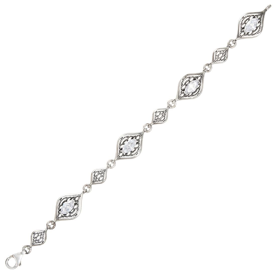 A WHITE GEMSTONE BRACELET in sterling silver, set with