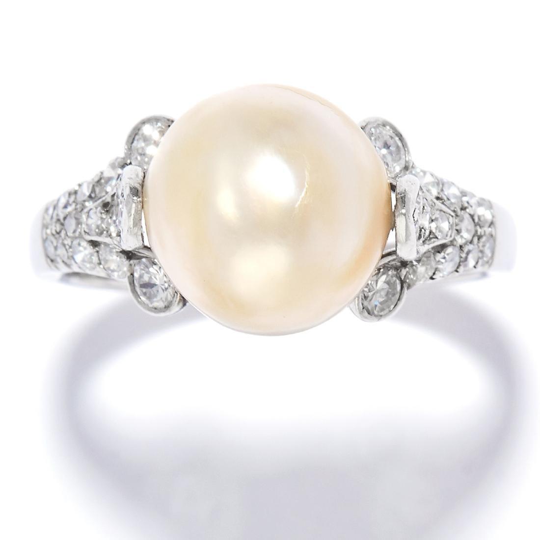 NATURAL PEARL AND DIAMOND RING, BULGARI in platinum,