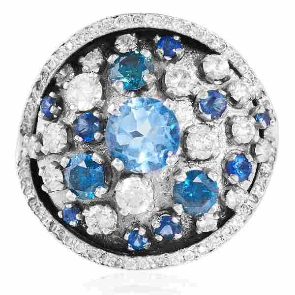 AN AQUAMARINE, BLUE DIAMOND, SAPPHIRE AND DIAMOND RING