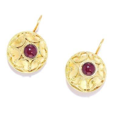 Antique Garnet Earrings In High Carat Yellow Gold Each