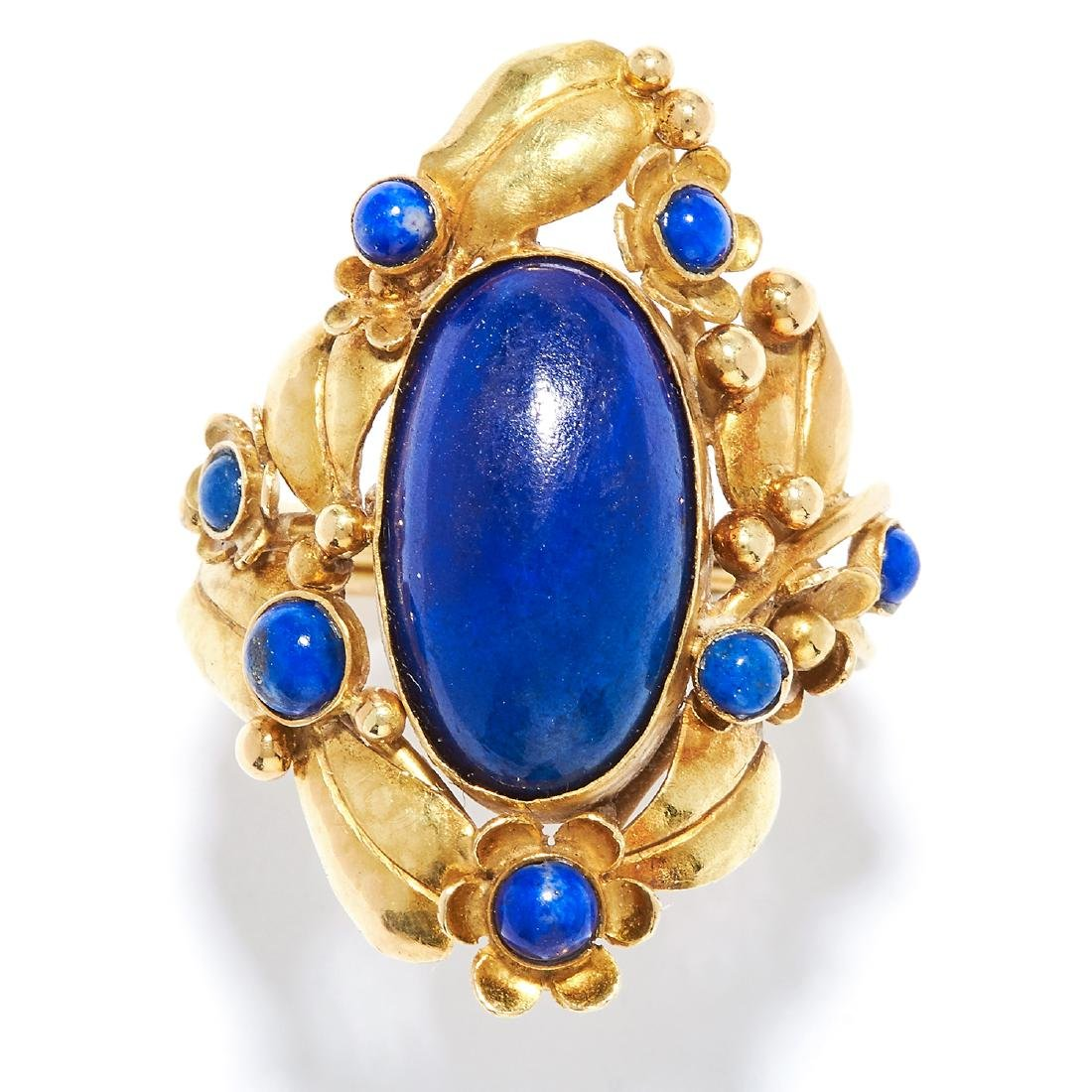 LAPIS LAZULI DRESS RING in 18ct yellow gold, set with