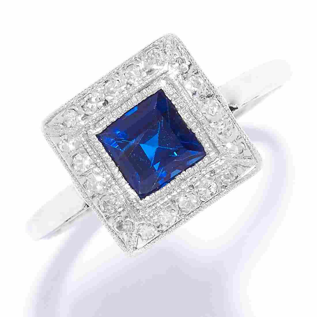 ART DECO SAPPHIRE AND DIAMOND RING in 18ct white gold