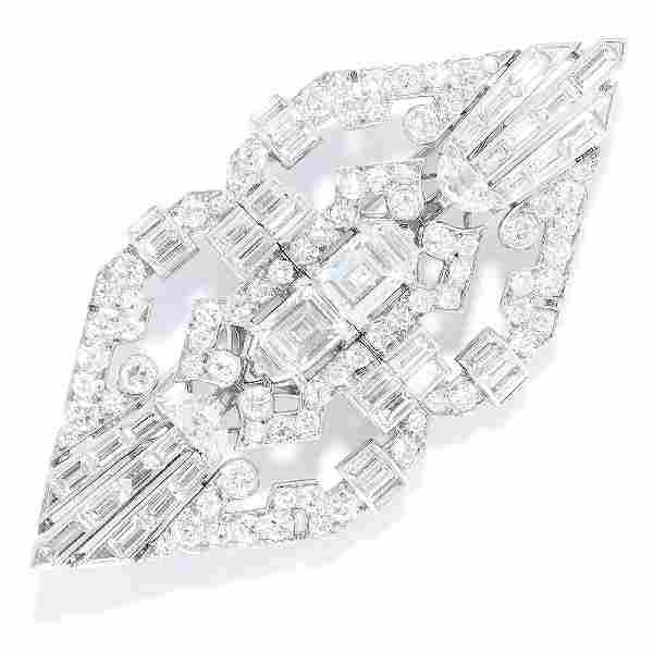 ANTIQUE DIAMOND DOUBLE CLIP BROOCH, CARTIER in