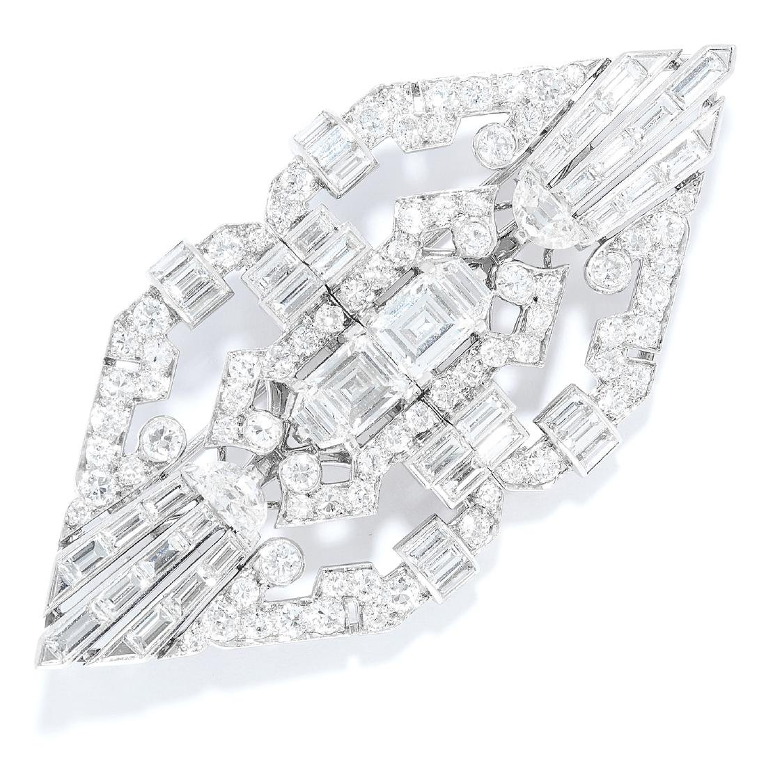 ANTIQUE DIAMOND DOUBLE CLIP BROOCH, CARTIER in
