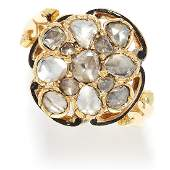 ANTIQUE DIAMOND AND ENAMEL CLUSTER RING in high carat
