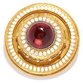 ANTIQUE GARNET AND ENAMEL MOURNING BROOCH 19TH CENTURY