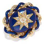 ANTIQUE DIAMOND AND ENAMEL BROOCH 19TH CENTURY in high