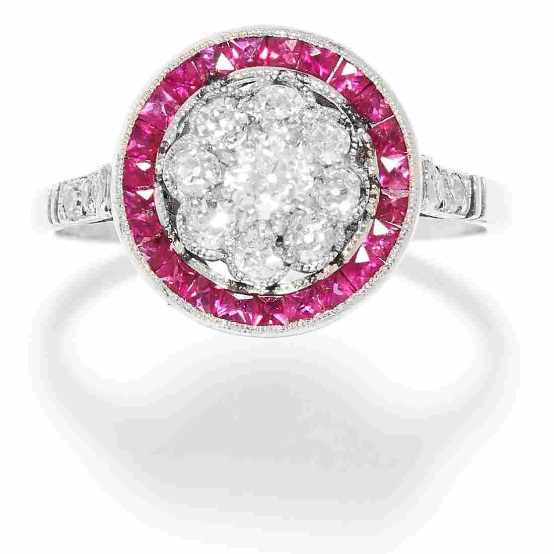 ART DECO DIAMOND AND RUBY RING in platinum or white