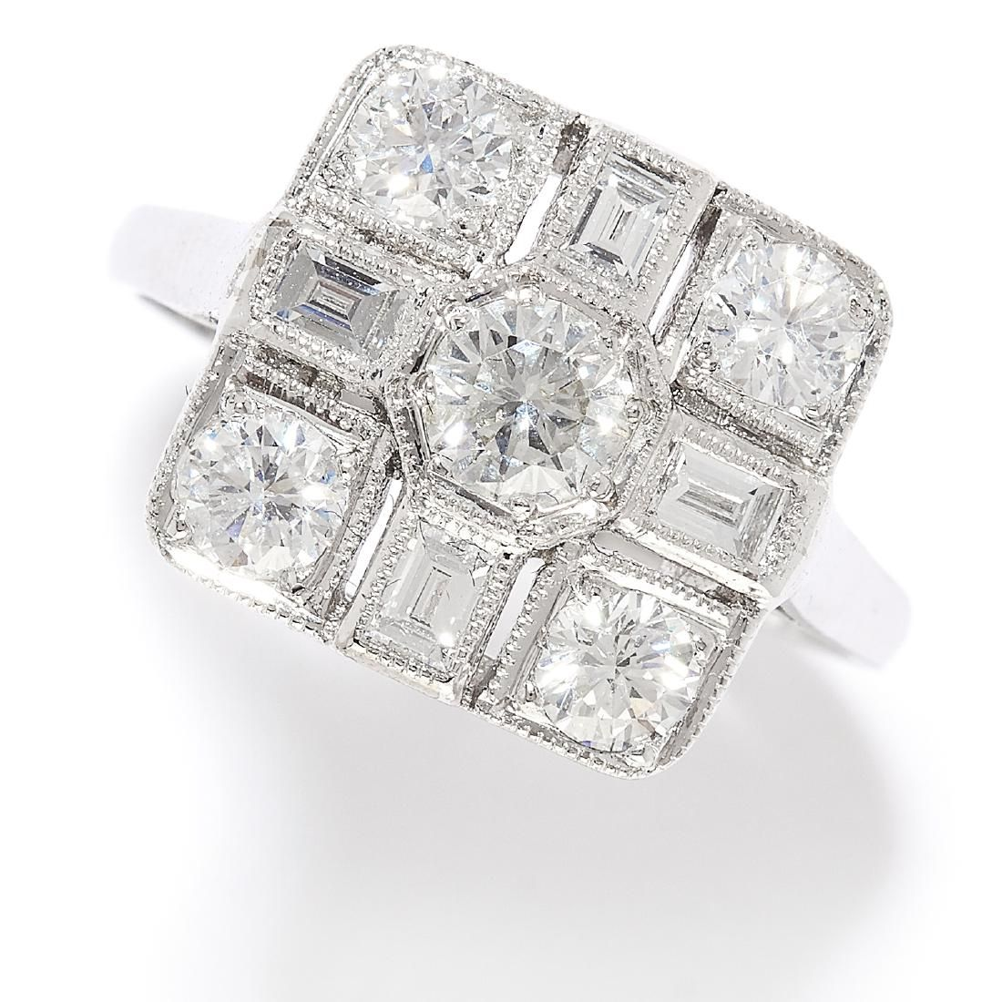 1.35 CARAT DIAMOND RING in 18ct white gold, in Art Deco