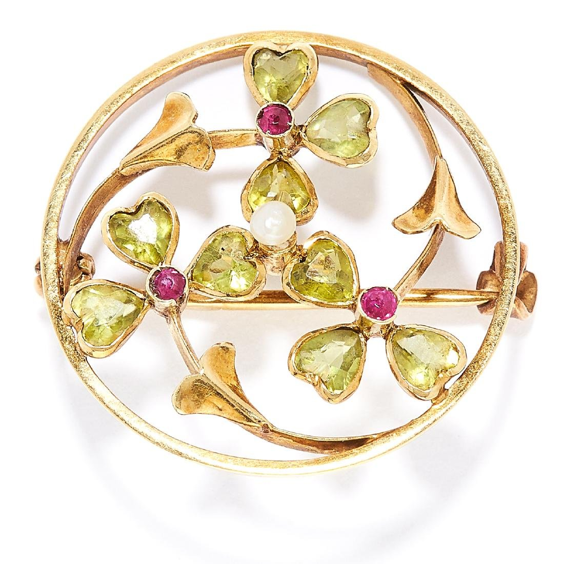 ANTIQUE PERIDOT, RUBY AND PEARL BROOCH in 15ct yellow