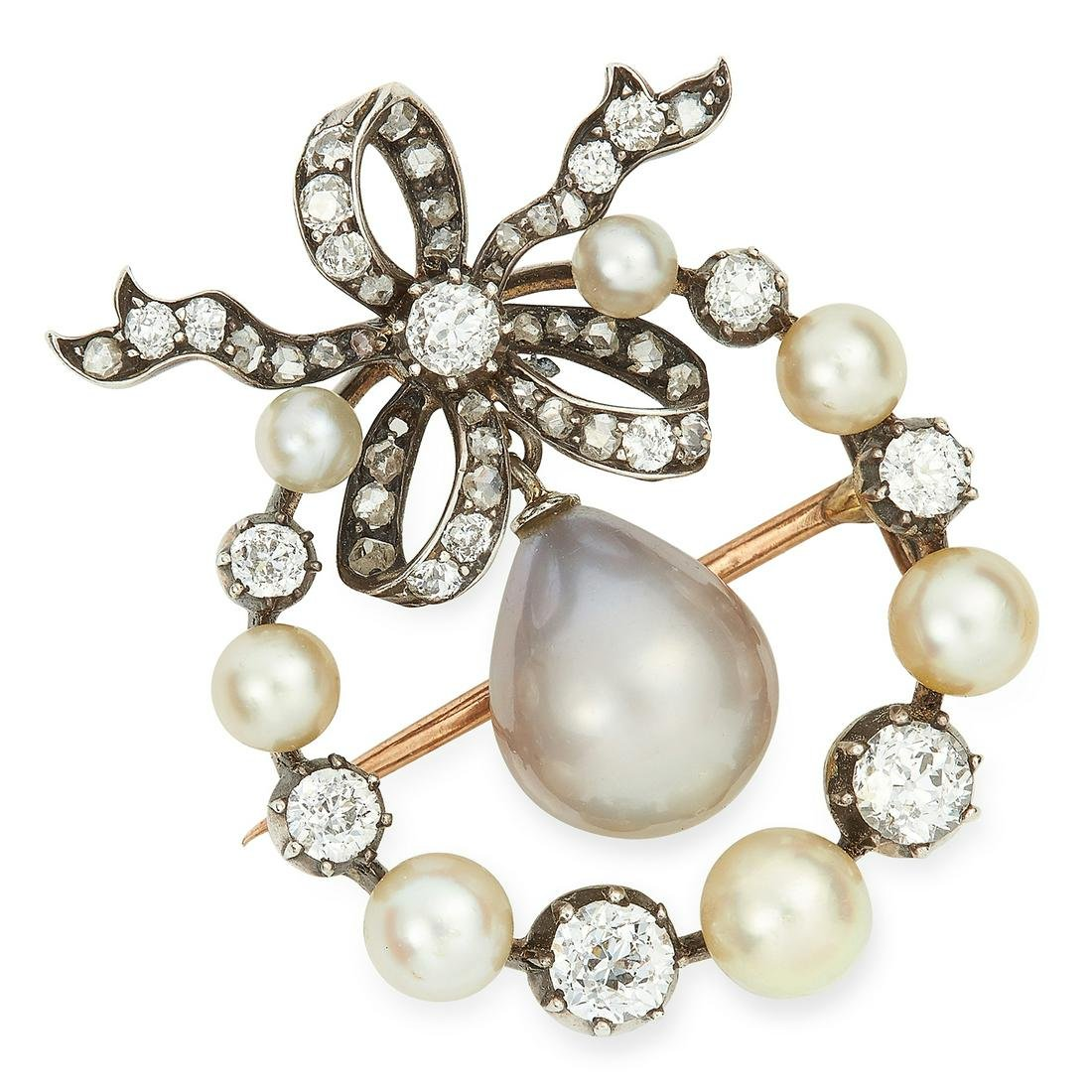 ANTIQUE NATURAL SALTWATER PEARL AND DIAMOND BOW BROOCH