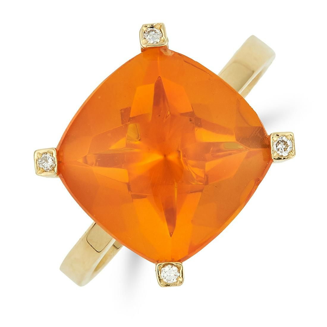 FIRE OPAL AND DIAMOND RING set with a cushion cut fire