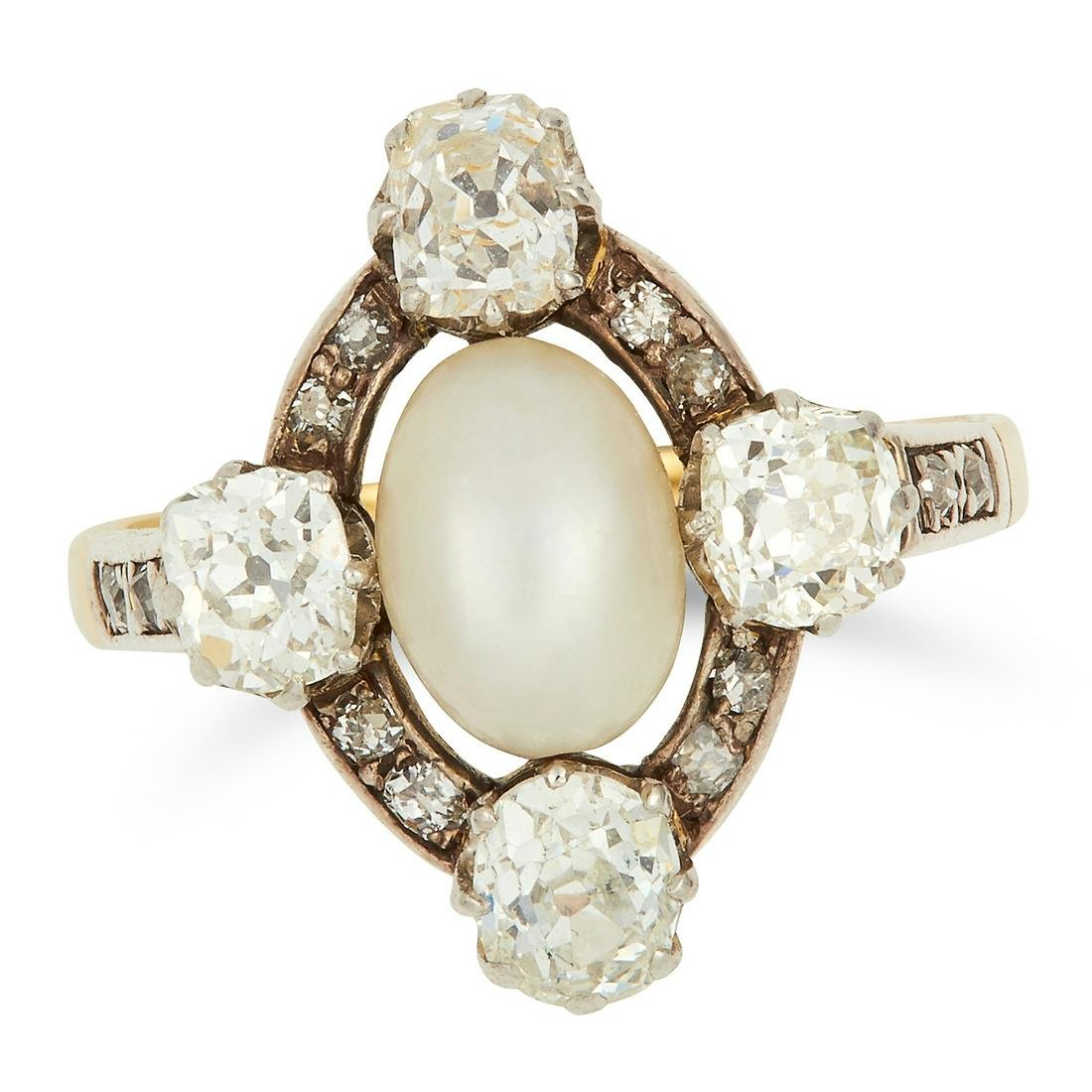 ANTIQUE NATURAL PEARL AND DIAMOND RING set with a