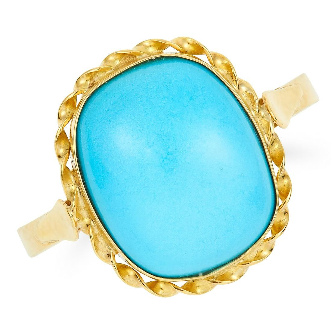 TURQUOISE DRESS RING set with a cushion shaped