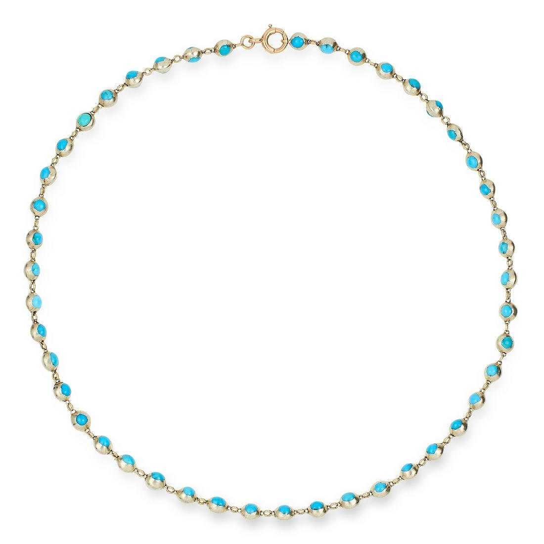TURQUOISE BEAD NECKLACE comprising of a single row of
