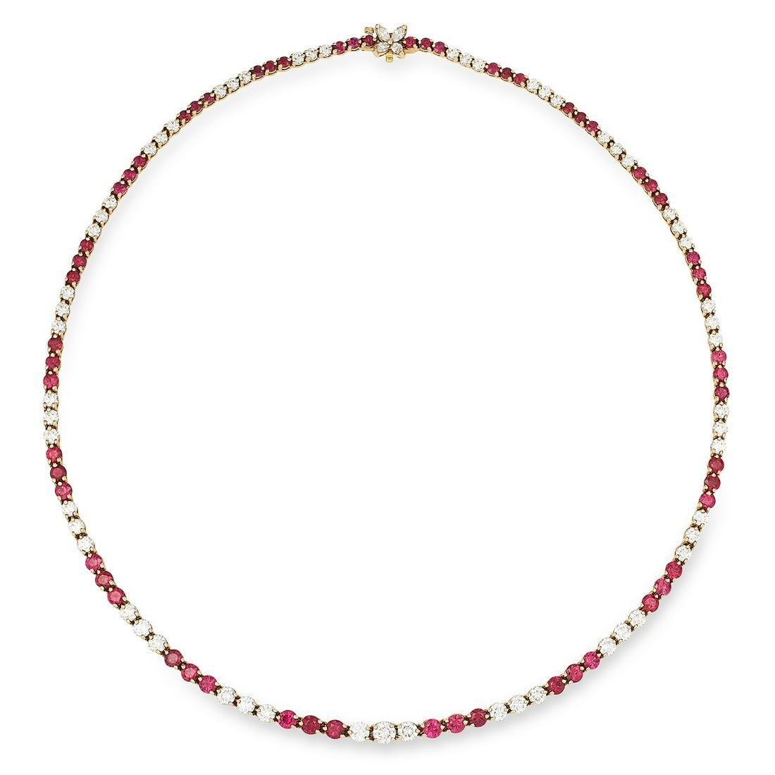 RUBY AND DIAMOND RIVIERA NECKLACE, TIFFANY & CO set