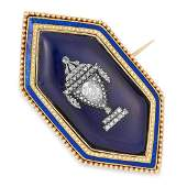 ANTIQUE DIAMOND AND ENAMEL HAIRWORK MOURNING BROOCH,