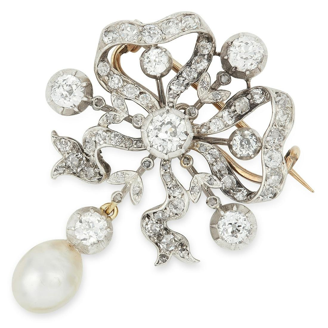 ANTIQUE NATURAL PEARL AND DIAMOND BOW BROOCH set with