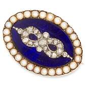 ANTIQUE PEARL DIAMOND AND ENAMEL BROOCH set with blue