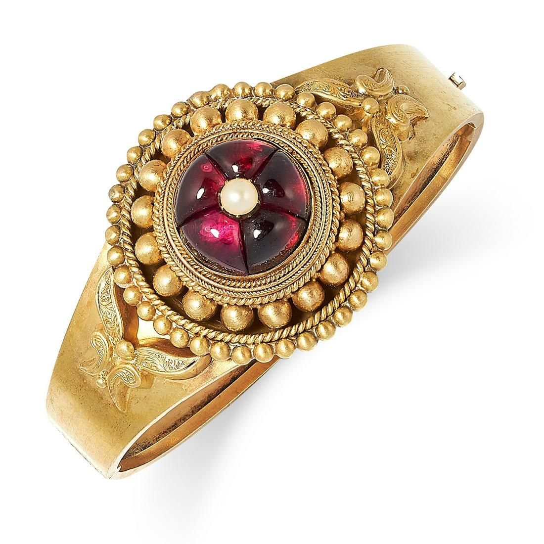 ANTIQUE VICTORIAN GARNET AND PEARL BANGLE set with