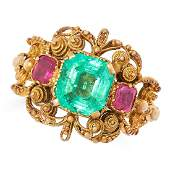 ANTIQUE GEORGIAN EMERALD AND RUBY RING set with an