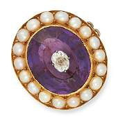 ANTIQUE AMETHYST PEARL AND DIAMOND BROOCH set with a