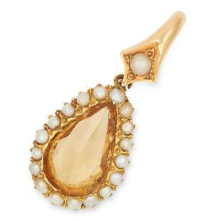 AN ANTIQUE IMPERIAL TOPAZ AND PEARL PENDANT 19TH