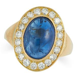 A SAPPHIRE AND DIAMOND CLUSTER RING in high carat