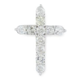 A DIAMOND CROSS PENDANT set with round modern brilliant
