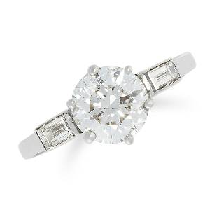 A 175 CARAT DIAMOND SOLITAIRE RING set with a round
